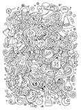 Cartoon cute doodles hand drawn Halloween illustration Stock Image