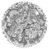 Cartoon cute doodles hand drawn Halloween illustration Royalty Free Stock Photography