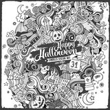 Cartoon cute doodles hand drawn Halloween illustration Stock Photos