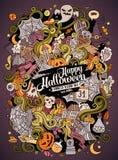 Cartoon cute doodles hand drawn Halloween illustration Royalty Free Stock Photos