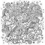 Cartoon cute doodles hand drawn Halloween illustration Royalty Free Stock Images