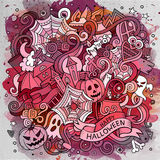 Cartoon cute doodles hand drawn Halloween illustration Stock Photo