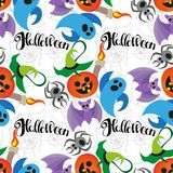 Happy Halloween, hand drawn lettering. Text banner or background for Halloween, hand written vector illustration. Cartoon cute doodles hand drawn Halloween vector illustration