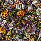 Cartoon cute doodles hand drawn Halloween seamless pattern. Colorful detailed, with lots of objects background. Endless funny vector illustration. All objects vector illustration
