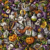 Cartoon cute doodles hand drawn Halloween seamless pattern. Colorful detailed, with lots of objects background. Endless funny vector illustration. All objects