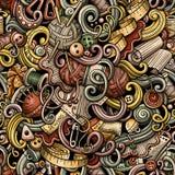 Cartoon cute doodles hand drawn Handmade seamless pattern Royalty Free Stock Images