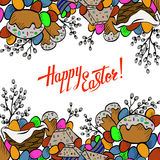 Cartoon cute doodles hand drawn Happy Easter background. Royalty Free Stock Images