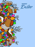 Cartoon cute doodles hand drawn Happy Easter background. Stock Photos