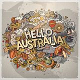 Cartoon cute doodles hand drawn Hello Australia inscription. Colorful illustration. Line art detailed, with lots of objects background. Funny vector artwork Royalty Free Stock Photography