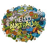 Cartoon cute doodles hand drawn Hello Australia inscription. Colorful illustration. Line art detailed, with lots of objects background. Funny vector artwork Stock Photography