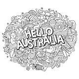 Cartoon cute doodles hand drawn Hello Australia inscription. Contour illustration. Line art detailed, with lots of objects background. Funny vector artwork Royalty Free Stock Image