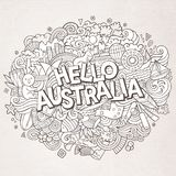 Cartoon cute doodles hand drawn Hello Australia inscription. Contour illustration. Line art detailed, with lots of objects background. Funny vector artwork Royalty Free Stock Photos