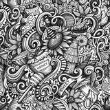 Cartoon cute doodles hand drawn Honey seamless pattern Royalty Free Stock Images