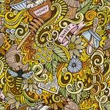 Cartoon cute doodles hand drawn Honey seamless pattern Royalty Free Stock Photo