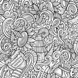 Cartoon cute doodles hand drawn Honey seamless pattern Royalty Free Stock Image
