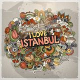 Cartoon cute doodles hand drawn I Love Istanbul inscription. Colorful illustration. Line art detailed, with lots of objects background. Funny vector artwork royalty free illustration