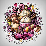 Cartoon cute doodles hand drawn Ice cream illustration. Colorful detailed, with lots of objects background. All items are separate. Funny vector artwork Royalty Free Stock Images