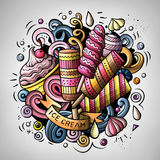 Cartoon cute doodles hand drawn Ice cream illustration. Colorful detailed, with lots of objects background. All items are separate. Funny vector artwork Stock Photo