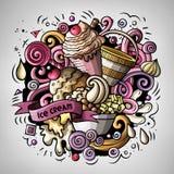 Cartoon cute doodles hand drawn Ice cream illustration Stock Image