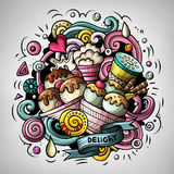 Cartoon cute doodles hand drawn Ice cream illustration. Colorful detailed, with lots of objects background. All items are separate. Funny vector artwork Stock Photography