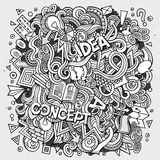 Cartoon cute doodles hand drawn Idea illustration Stock Photos