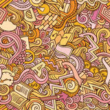 Cartoon cute doodles hand drawn Idea seamless pattern Royalty Free Stock Photo