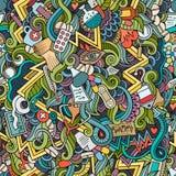 Cartoon cute doodles hand drawn Medical seamless pattern Royalty Free Stock Photo