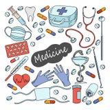 Cartoon cute doodles hand drawn Medicine illustration. Stock Photography