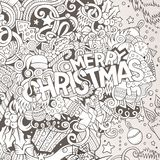 Cartoon cute doodles hand drawn Merry Christmas illustration Royalty Free Stock Image