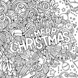 Cartoon cute doodles hand drawn Merry Christmas illustration Royalty Free Stock Photo