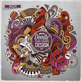 Cartoon cute doodles hand drawn Music illustration Royalty Free Stock Images