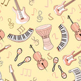Cartoon cute doodles hand drawn Musical seamless pattern. Endless funny vector illustration. Backdrop with music symbols. Cartoon cute doodles hand drawn Musical royalty free illustration