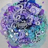 Cartoon cute doodles hand drawn nautical illustration Royalty Free Stock Photo