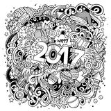 Cartoon cute doodles hand drawn New Year illustration Royalty Free Stock Image