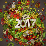 Cartoon cute doodles hand drawn New Year illustration Stock Photography