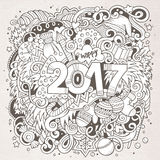 Cartoon cute doodles hand drawn New Year illustration Stock Images