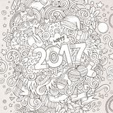 Cartoon cute doodles hand drawn New Year illustration Stock Photo