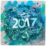 Cartoon cute doodles hand drawn New Year illustration Royalty Free Stock Photo