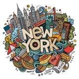 Cartoon cute doodles hand drawn New York inscription Royalty Free Stock Image