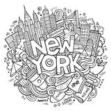 Cartoon cute doodles hand drawn New York inscription Stock Photos