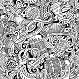 Cartoon cute doodles hand drawn Octoberfest seamless pattern Royalty Free Stock Photography