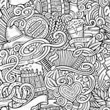 Cartoon cute doodles hand drawn Octoberfest seamless pattern Stock Images