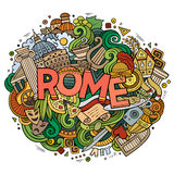 Cartoon cute doodles hand drawn Rome inscription Royalty Free Stock Photography