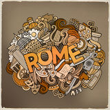 Cartoon cute doodles hand drawn Rome inscription. Colorful illustration with italian theme items. Line art detailed, with lots of objects background. Funny Stock Photography