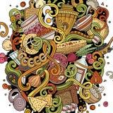 Cartoon cute doodles hand drawn Russian food illustration Royalty Free Stock Photo