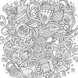 Cartoon cute doodles hand drawn Russian food illustration Stock Photography