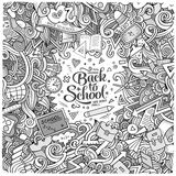 Cartoon cute doodles hand drawn school frame Royalty Free Stock Image