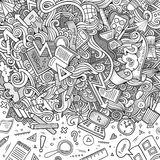 Cartoon cute doodles hand drawn school frame Stock Photo