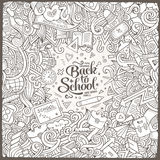 Cartoon cute doodles hand drawn school frame Stock Image