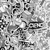 Cartoon cute doodles hand drawn Science frame design. Line art d Stock Image